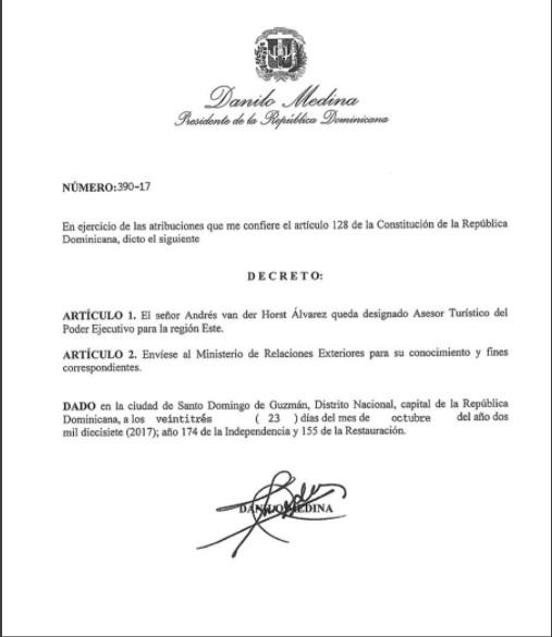 Presidente designa a Andrés van der Horst Álvarez asesor turístico del Poder Ejecutivo para la región Este