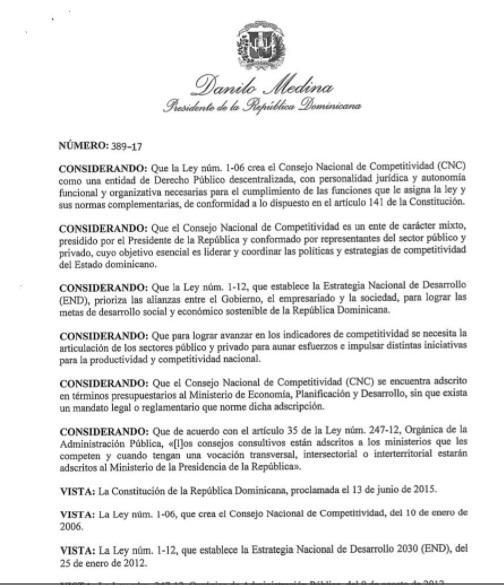 Presidente Medina designa miembros Consejo Nacional Competitividad y crea Consejo Consultivo