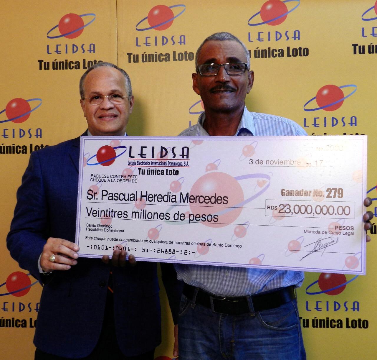 LEIDSA entrega 23 millones de pesos a ganador de sorteo