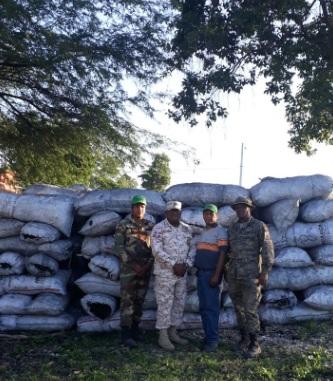 Miembros del Cesfront  incautaron de 222 sacos de carbón vegetal