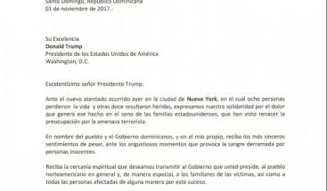 Presidente Medina se solidariza con Donald Trump por atentado en Nueva York