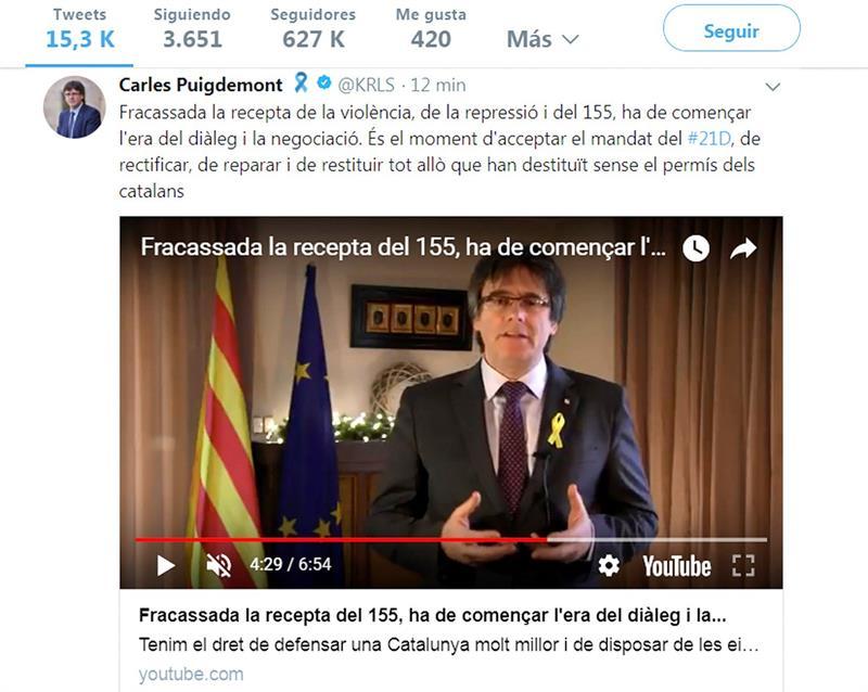 Puigdemont pide a Rajoy que negocie con el