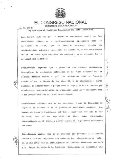 Presidente Medina promulga ley crea Instituto Dominicano del Café