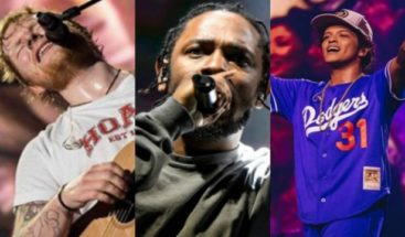 Kendrick Lamar, Ed Sheeran y Bruno Mars, los favoritos en Billboard