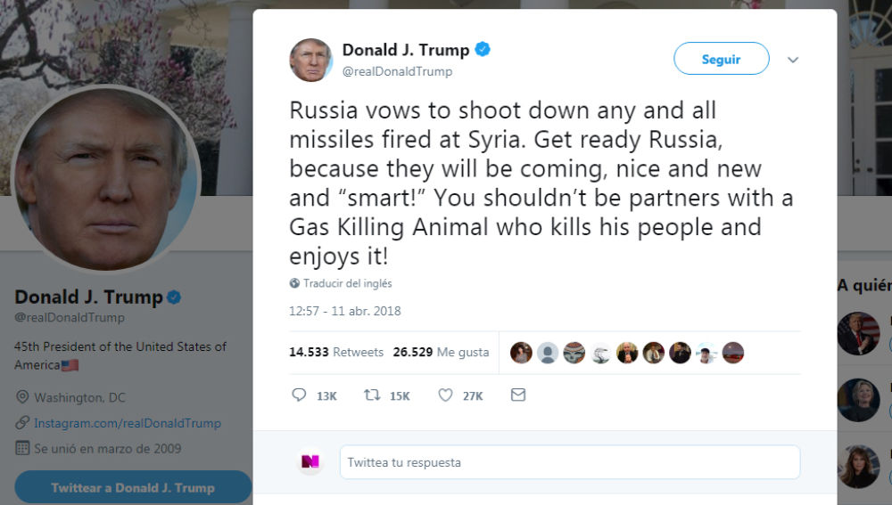 Trump advierte a Rusia se prepare para ataque con misiles contra Siria