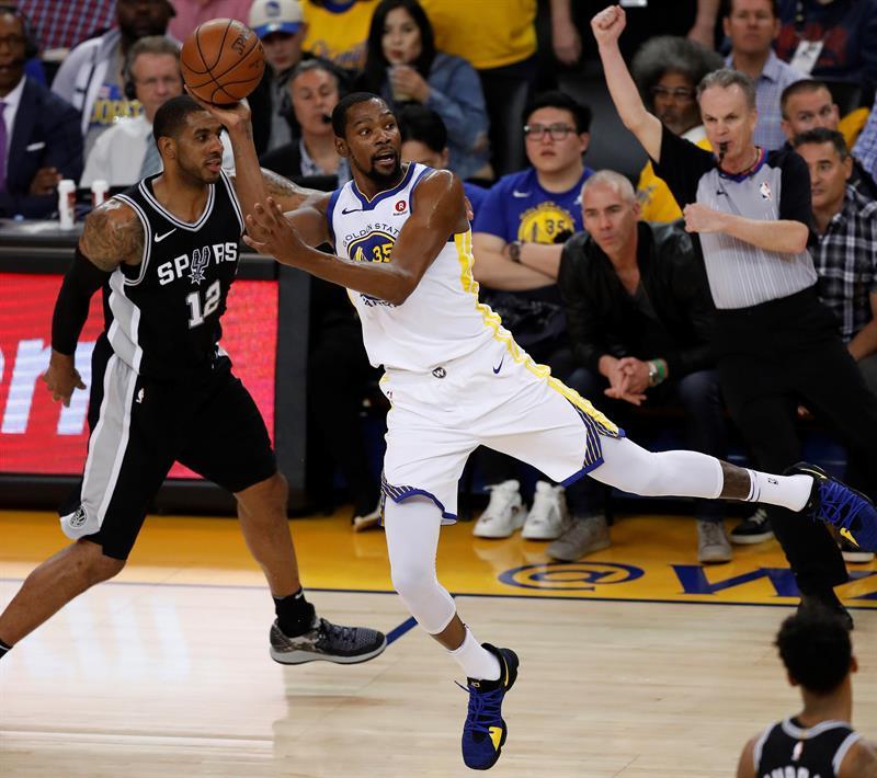 99-91. Durant, Thompson, Green, con suspense, ponen a Warriors en semifinales