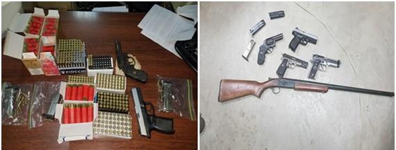 Decomisan armas de fuego, municiones y cigarros durante allanamiento