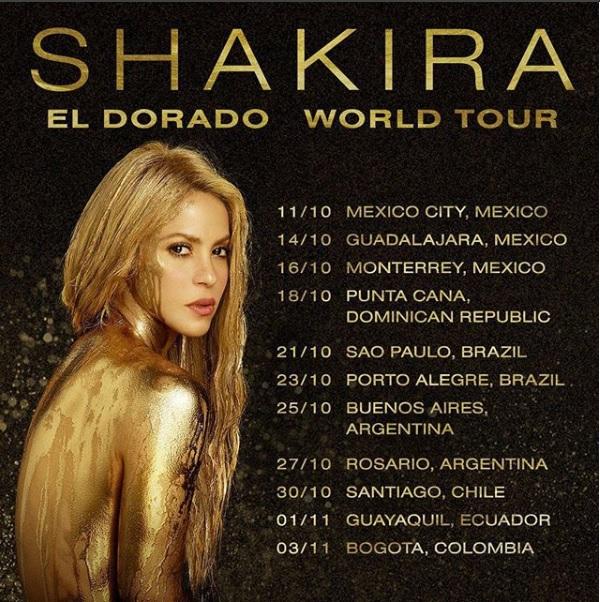 Shakira se presentará en RD el 18 de octubre con su gira