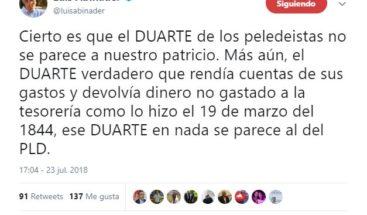 """Luis Abinader: """"Cierto es que el Duarte de los peledeistas no se parece a nuestro patricio"""""""
