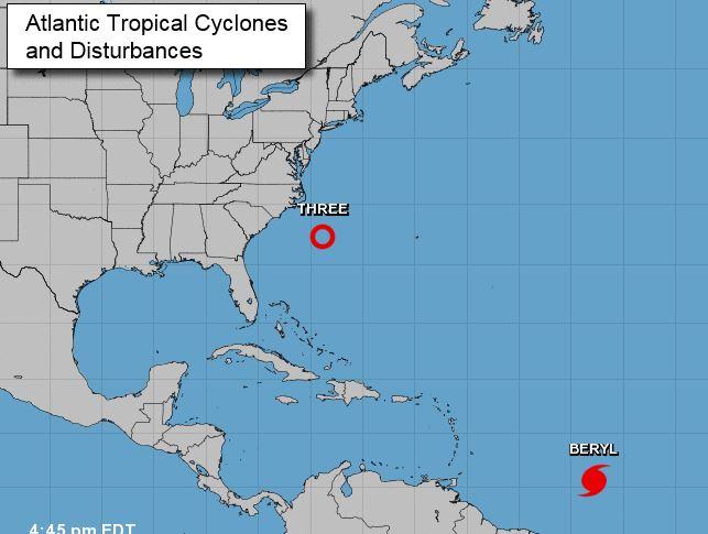 Se forma en el sureste de EEUU la tercera depresión tropical en el Atlántico