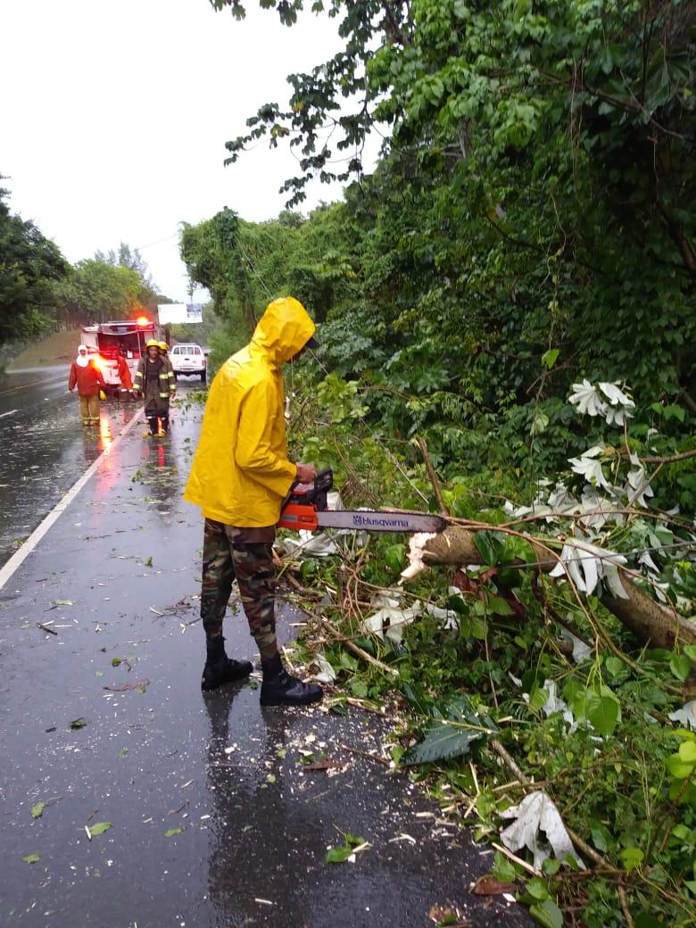 Brigadas del MOPC despeja las vías afectadas por las lluvias de onda tropical Beryl