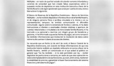 Banco de Reservas niega haber recibido depósito ni fondos a favor de familia Rosario