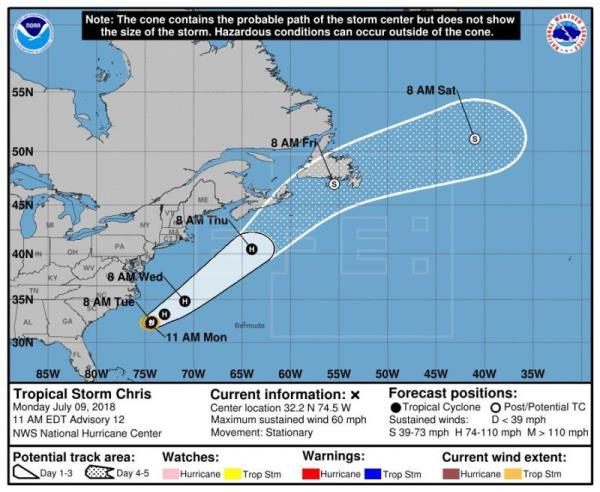 Tormenta Chris se convertirá hoy en huracán de camino al noreste de EEUU