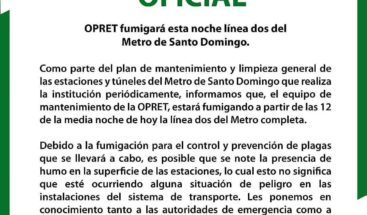 Fumigarán línea 2 del Metro de Santo domingo a partir de la media noche