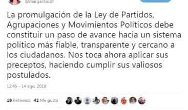 Margarita dice Ley de Partidos debe ser un paso de avance