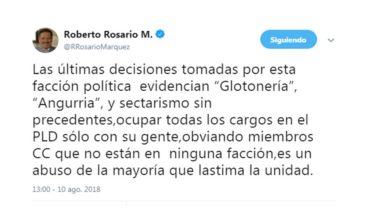 """Roberto Rosario critica """"glotonería y angurria de una facción del PLD"""""""