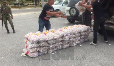 ERD decomisa 70 sacos de ajo en Independencia