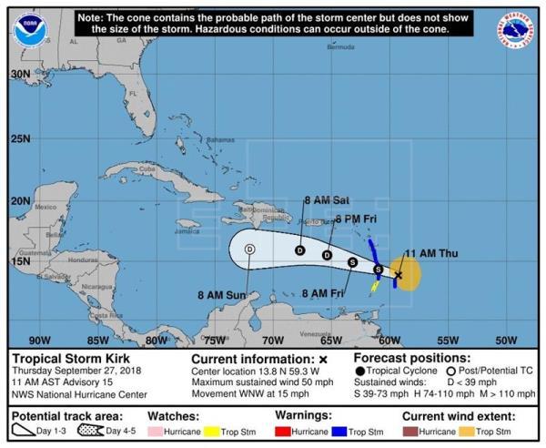 Inundaciones y apagones a medida que tormenta Kirk pasa por el Caribe
