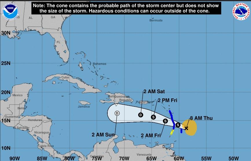 Kirk se acerca a las Antillas Menores; vaguada incide sobre el país
