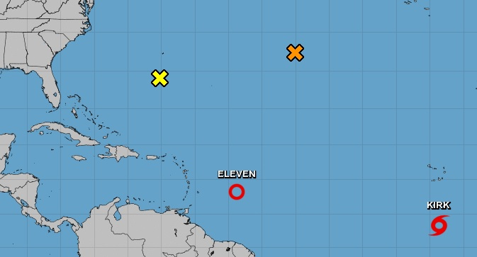 Tormenta tropical Kirk avanza por el Atlántico hacia el oeste