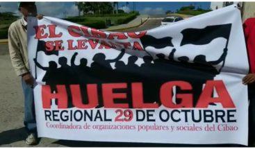 Convocan paro de 24 horas en Santiago para el lunes 29