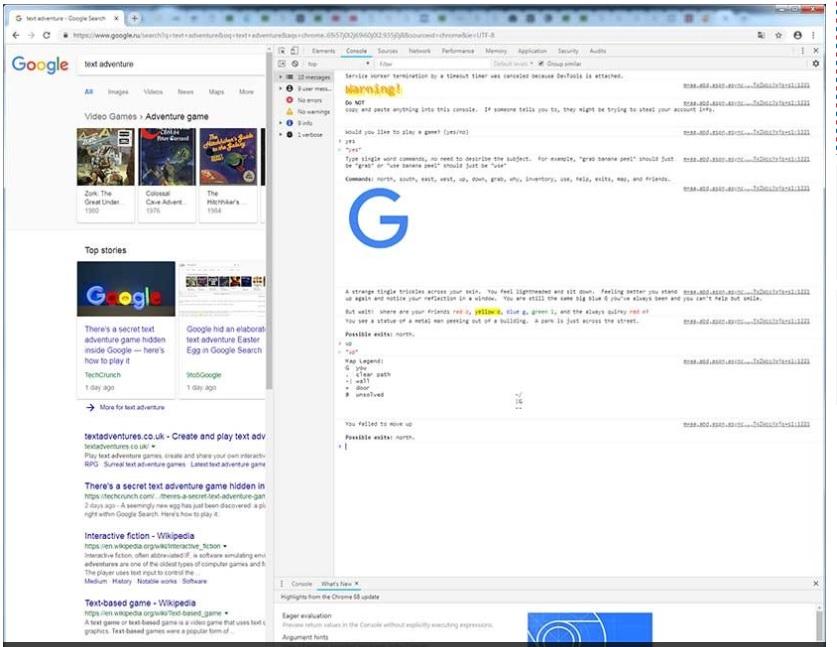 Hallan un videojuego de aventuras oculto en el código de Google