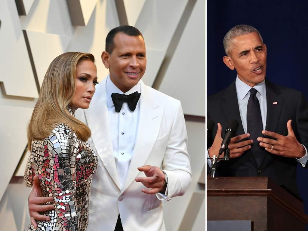 Expresidente Obama felicita a Alex Rodríguez y JLo por su compromiso
