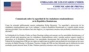 Resultados toxicológicos de turistas muertos pueden demorar hasta 30 días, según embajada EEUU