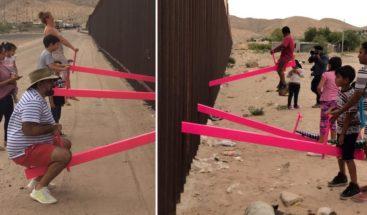 Crean un conmovedor parque de atracciones en el muro fronterizo