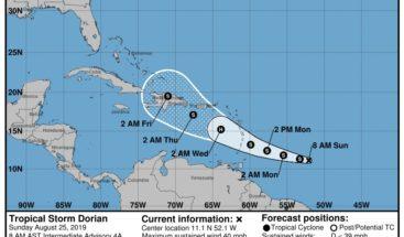 La tormenta tropical Dorian mantiene su fuerza mientras se dirige al Caribe