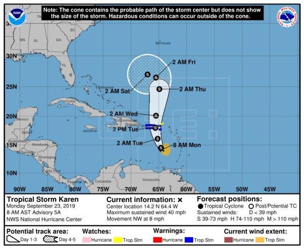 Karen se degrada a depresión tropical rumbo a Puerto Rico e Islas Vírgenes