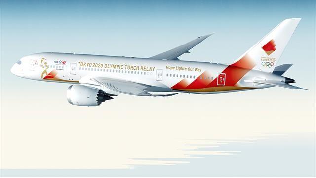 Tokio 2020 presenta un avión de diseño para traslado de la antorcha olímpica