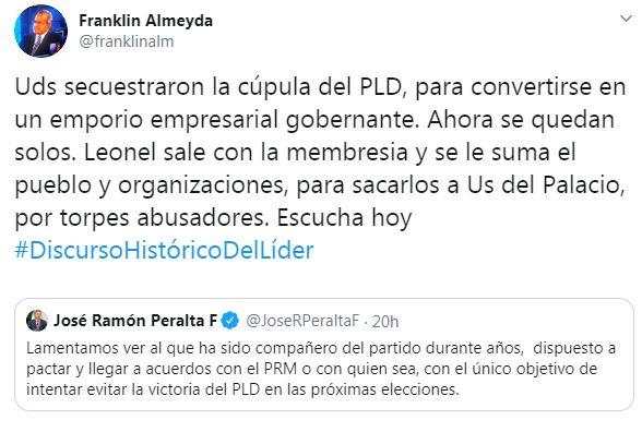 """Almeyda acusa a danilistas de secuestrar cúpula del PLD y convertirla en """"emporio empresarial"""""""