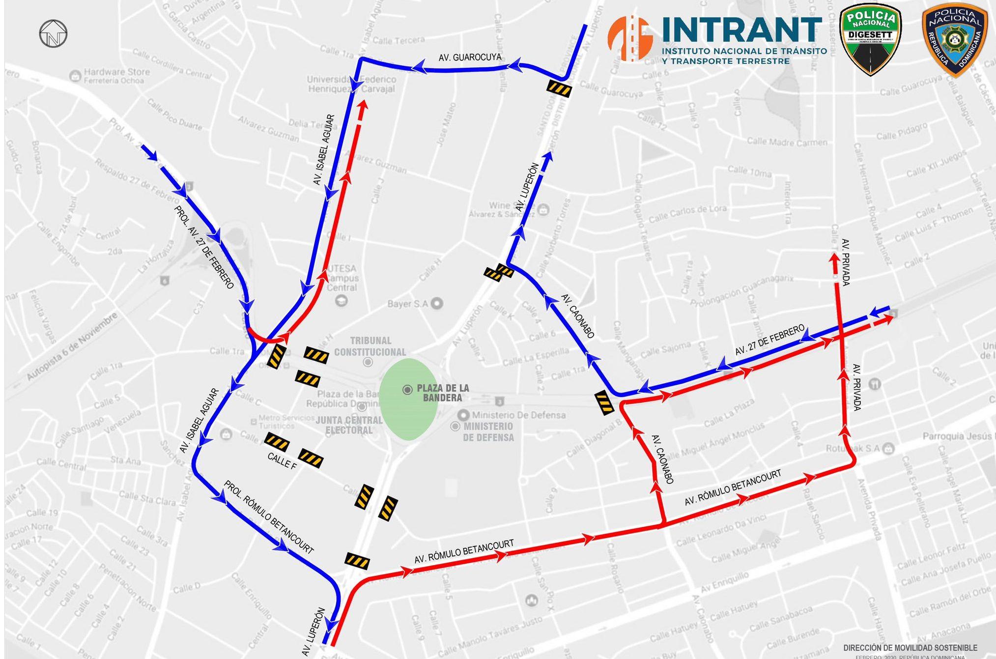 ¿Cuáles son las rutas alternas este 27 de febrero en la Plaza de la Bandera y George Washington?