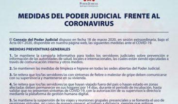 Poder Judicial suspende audiencias hasta el 13 de abril ante coronavirus