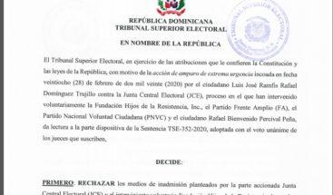 TSE Rechaza candidatura presidencial de Ramfis Domínguez Trujillo