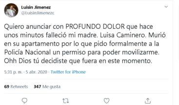 Fallece madre del ex-diputado Luisín Jiménez