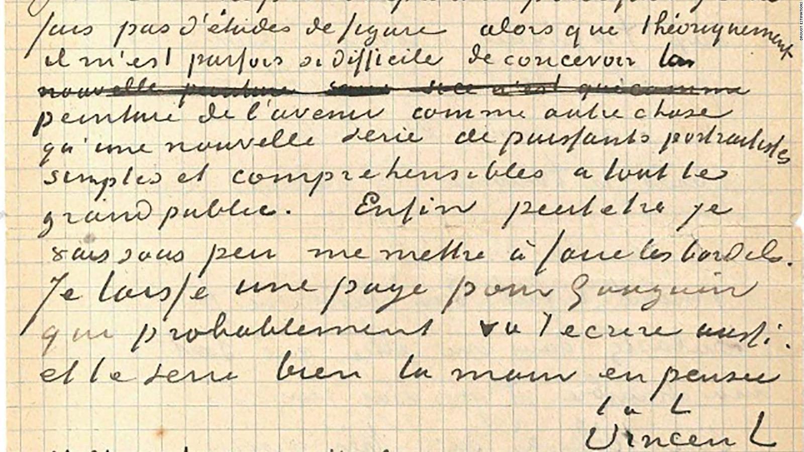 Subastada por más de 200.000 euros una carta conjunta de Gauguin y Van Gogh