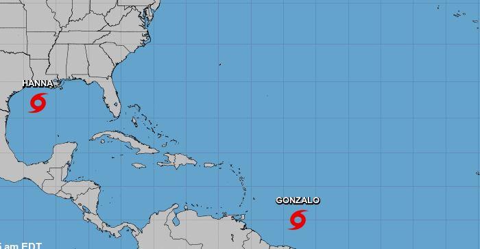 Tormenta Hanna va a Texas y Gonzalo, que podría ser huracán, a las Barlovento
