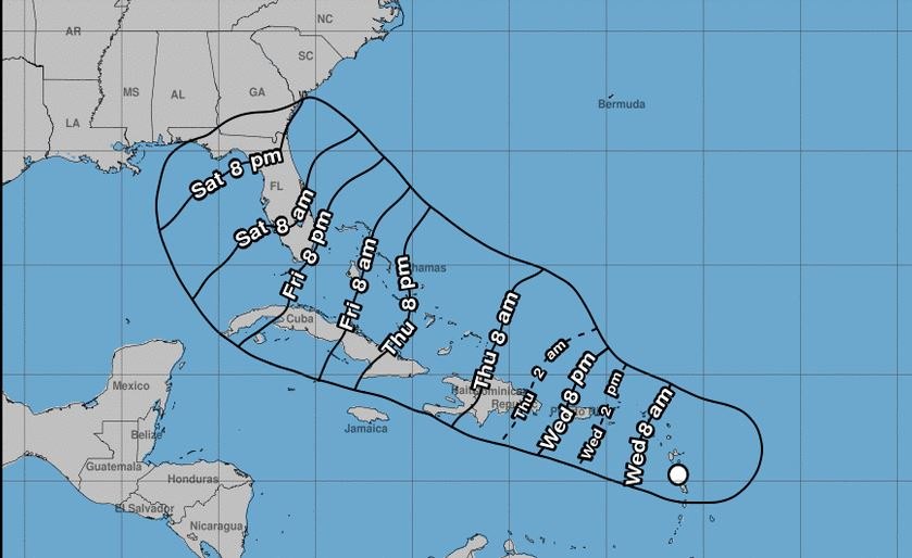 Potencial ciclón tropical que afectaría a RD se encuentra a 385 km de Puerto Rico