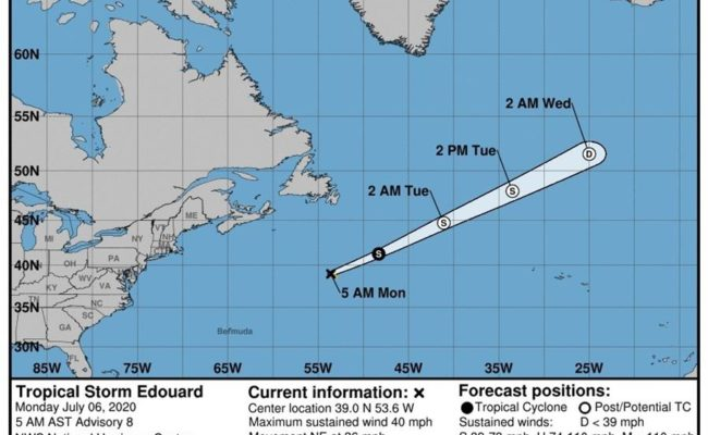 Edouard se degrada en tormenta postropical