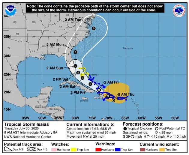 Todo el territorio nacional en estado de alerta por tormenta Isaías