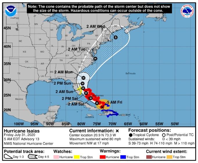 Huracán Isaias está cerca de las Bahamas