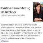 Cristina Fernández demanda a Google por aparecer como