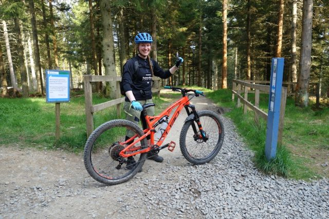 At the start of Stage 1, and one of my fave trail centre trails at Glentress, Berm Baby Berm.