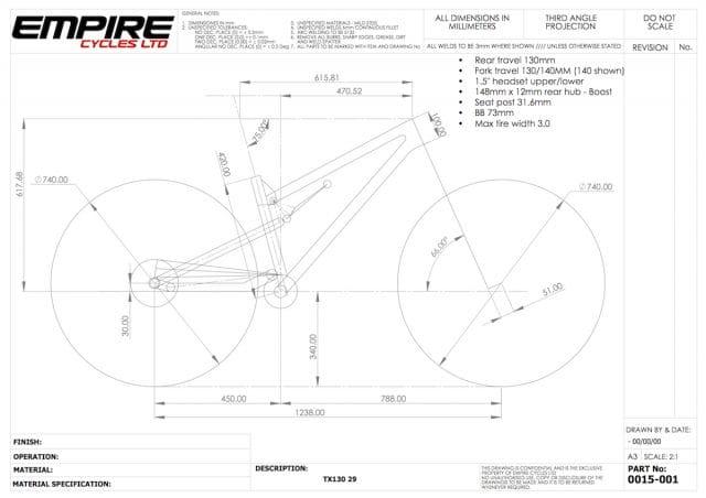 empire cycles tx130 geometry