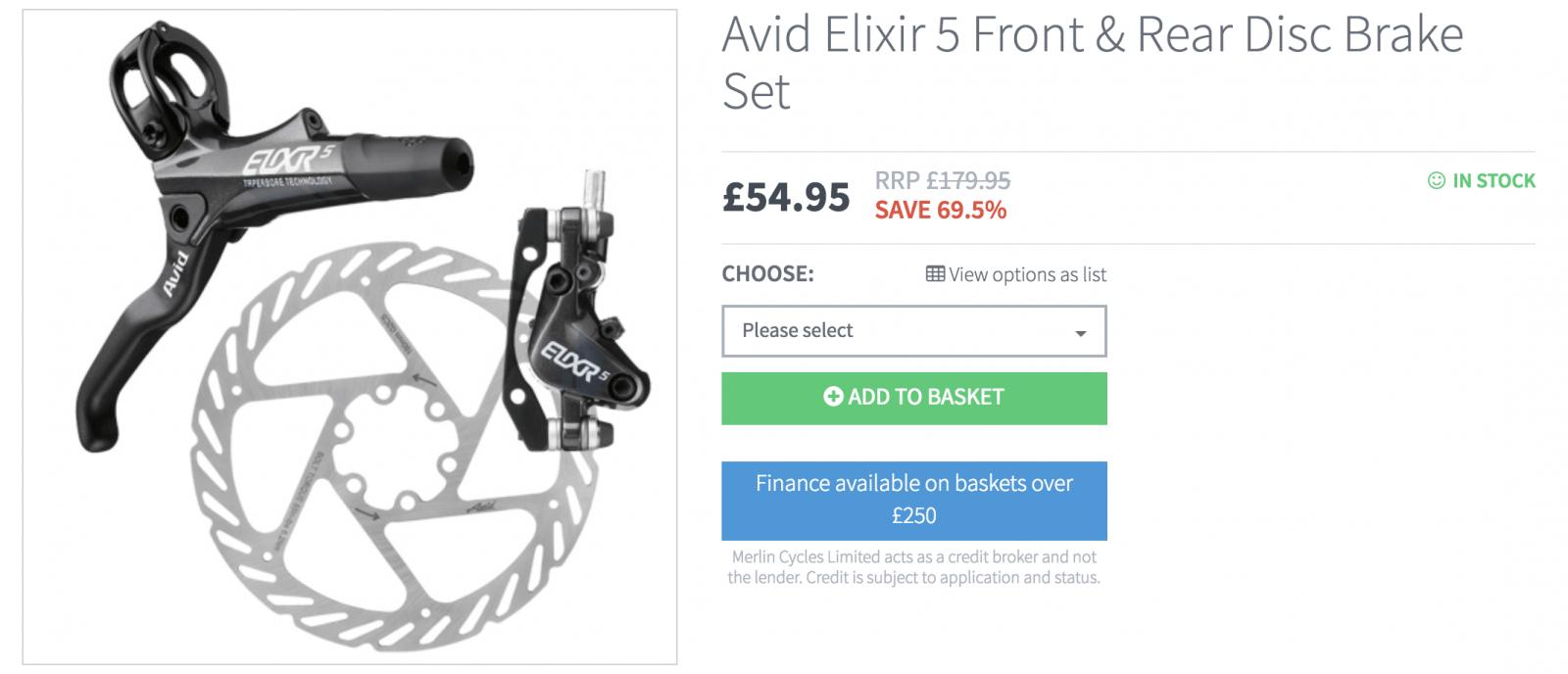 Avid Elixr Front and Rear Disc Brake Set - £54.99