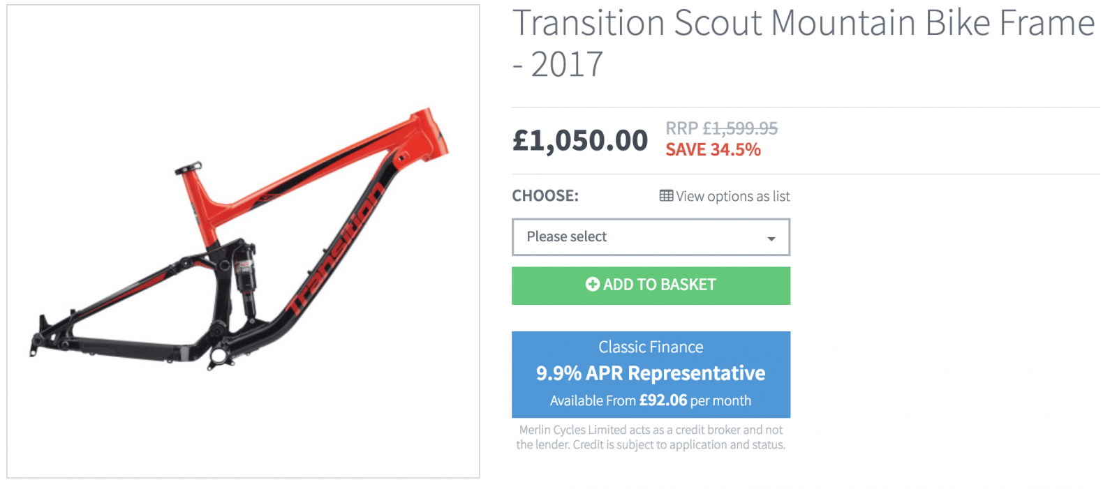 2017 Transition Frames from £400!