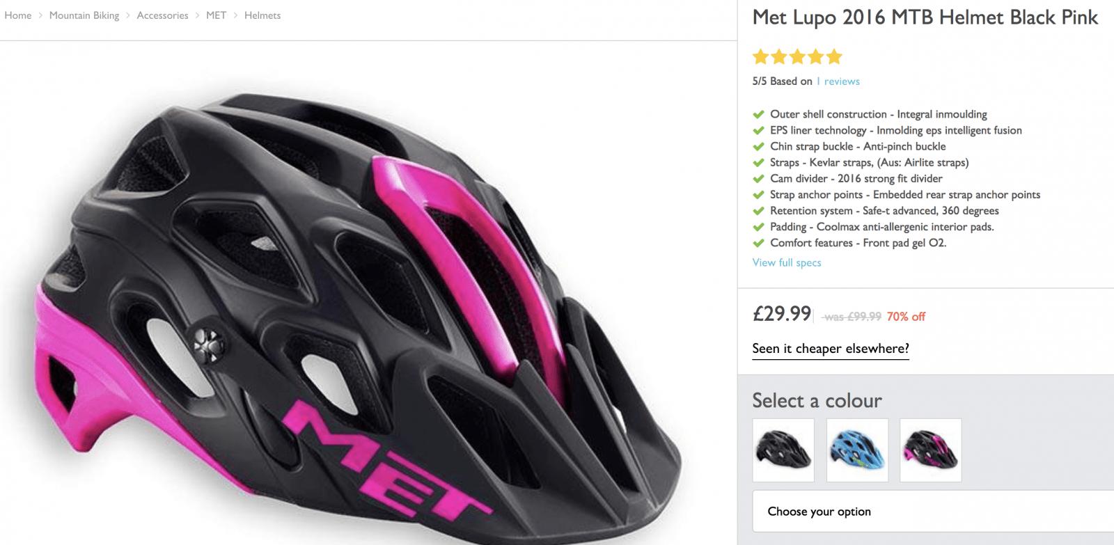 Met Lupo 2016 MTB Helmet Black Pink - £29.99