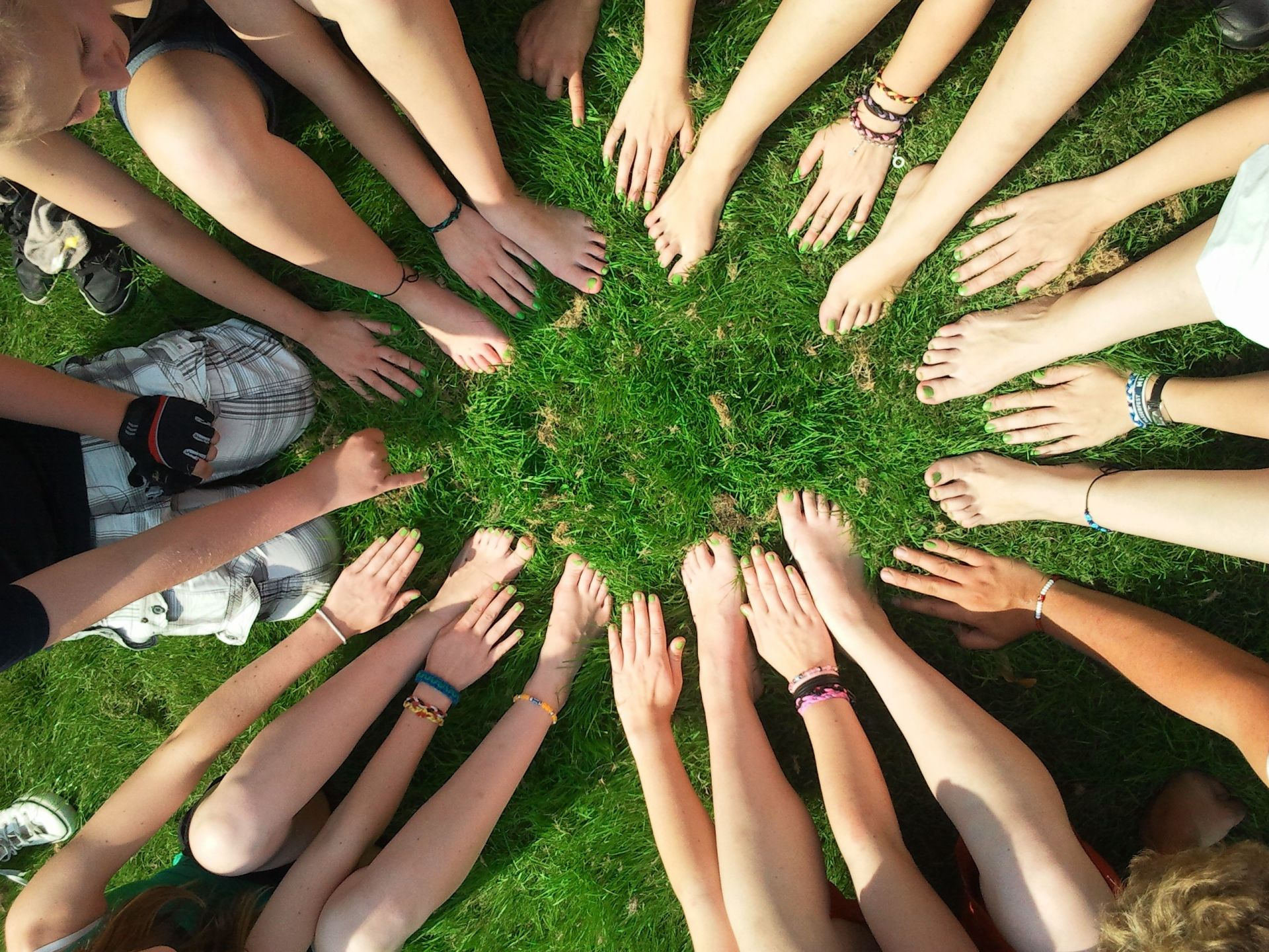 Paljon erilaisia käsivarsia yhteen ojentuneina ruohikolla.